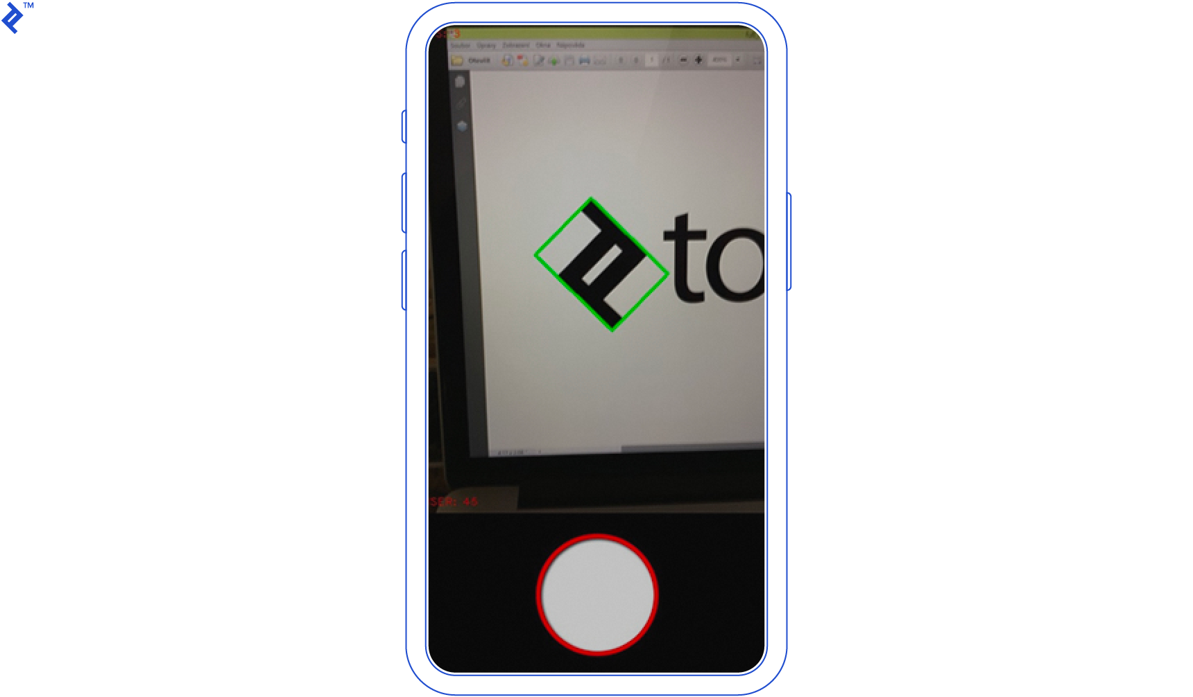 Detecting an image (the Toptal logo) vertically.