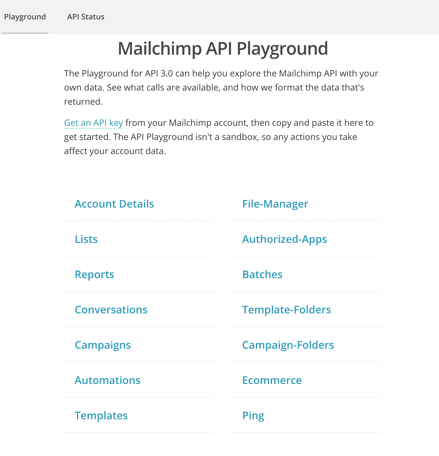 Screenshot of the Mailchimp API playground