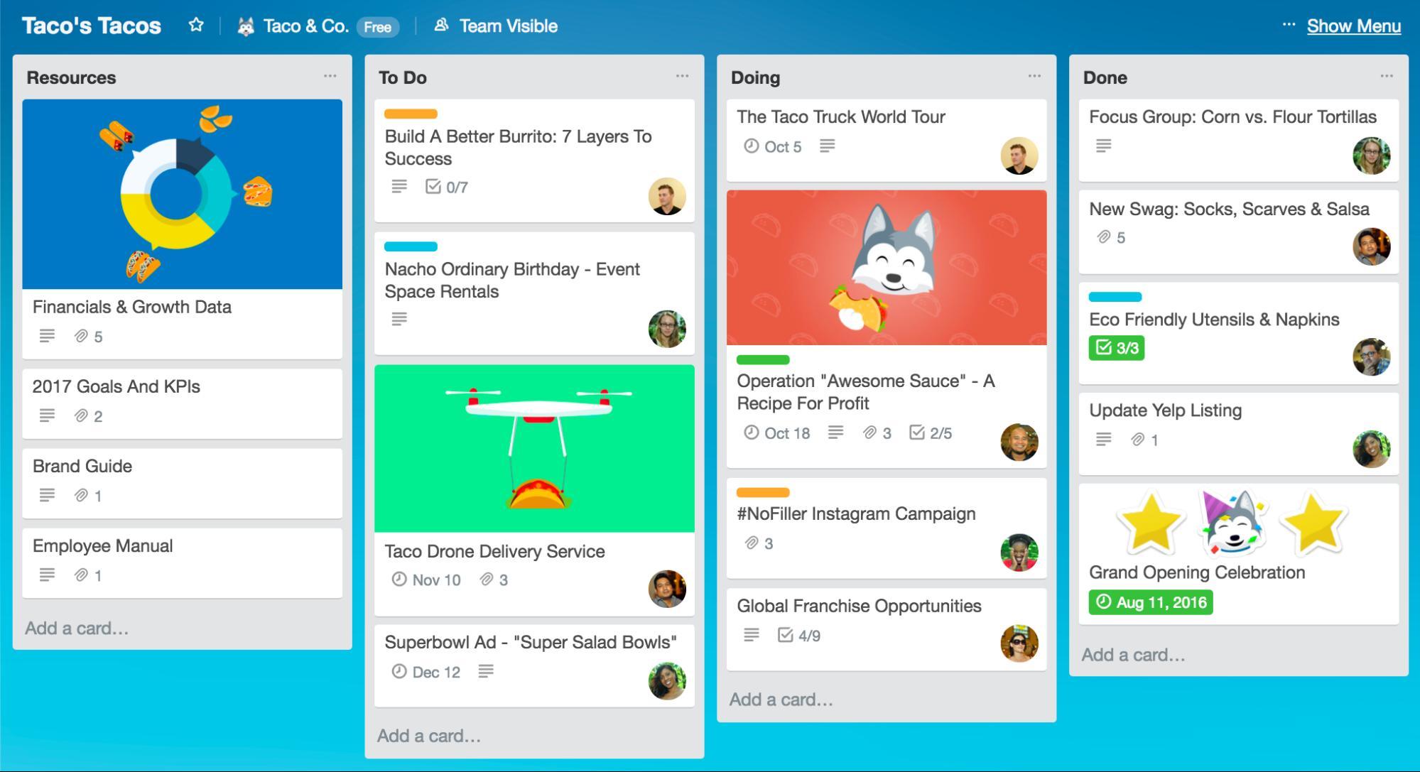 Trello project management software screenshot
