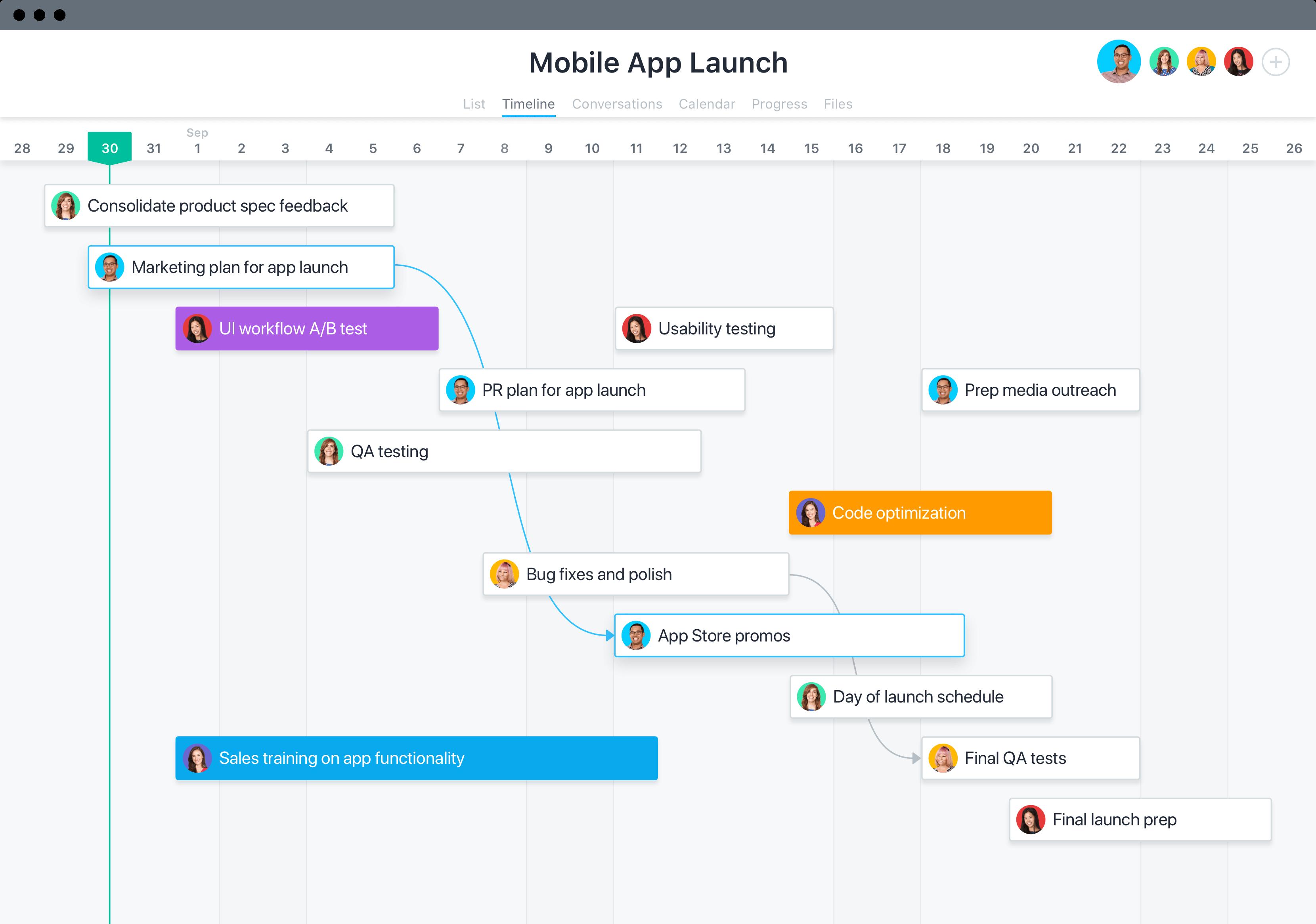 Asana project management software screenshot