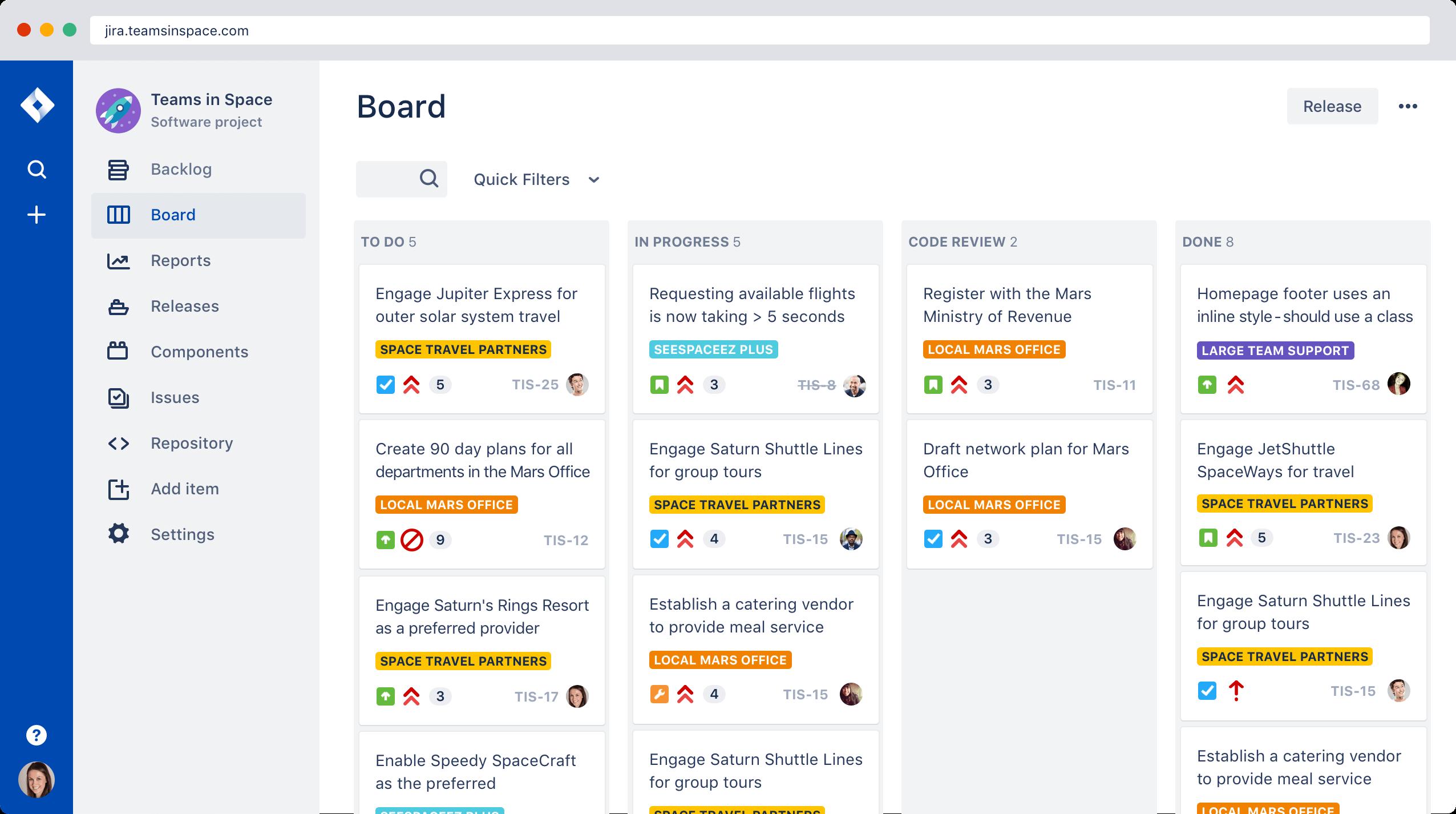 Jira project management software screenshot