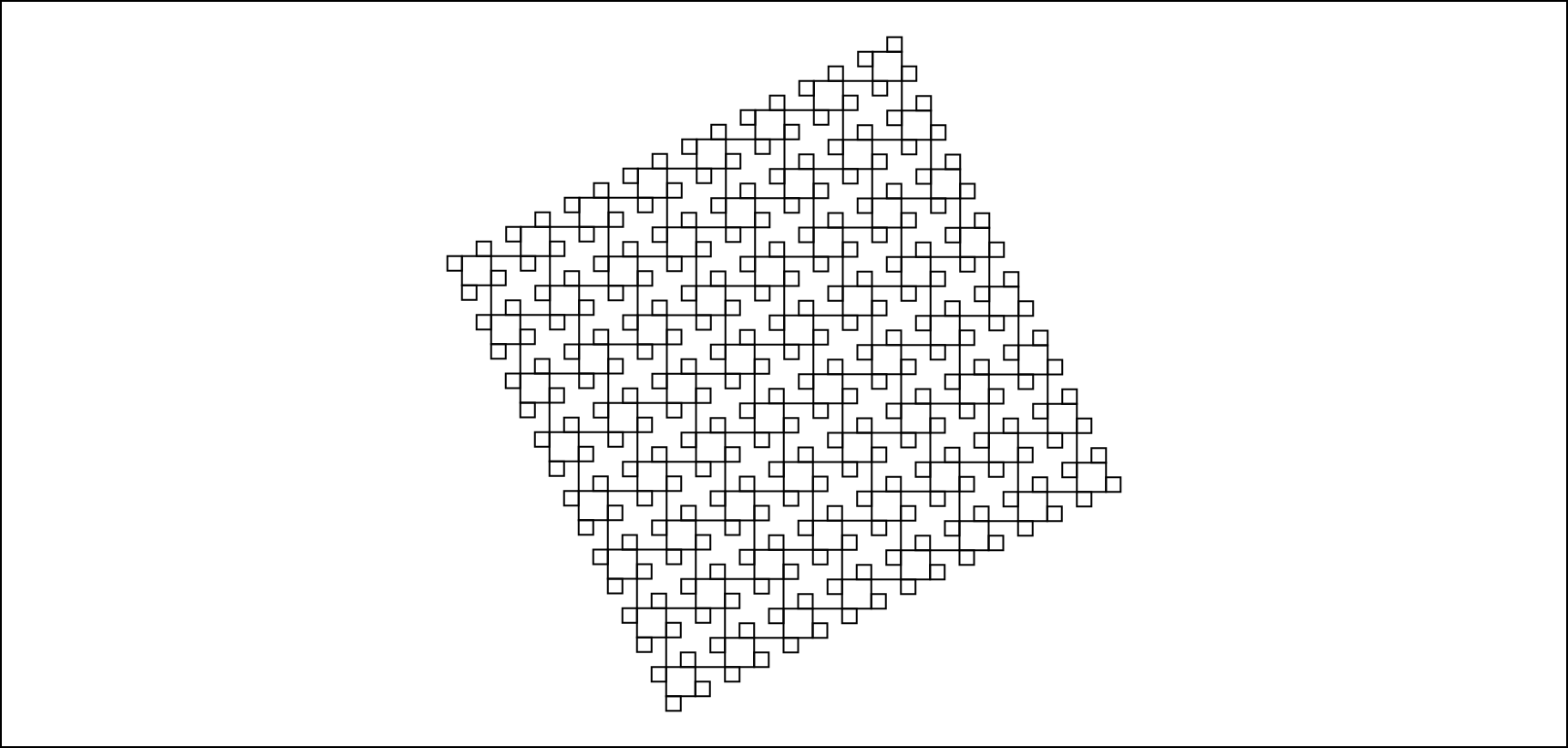 Illustration of recursively drawn smaller squares as demonstrated in python parameterized code above