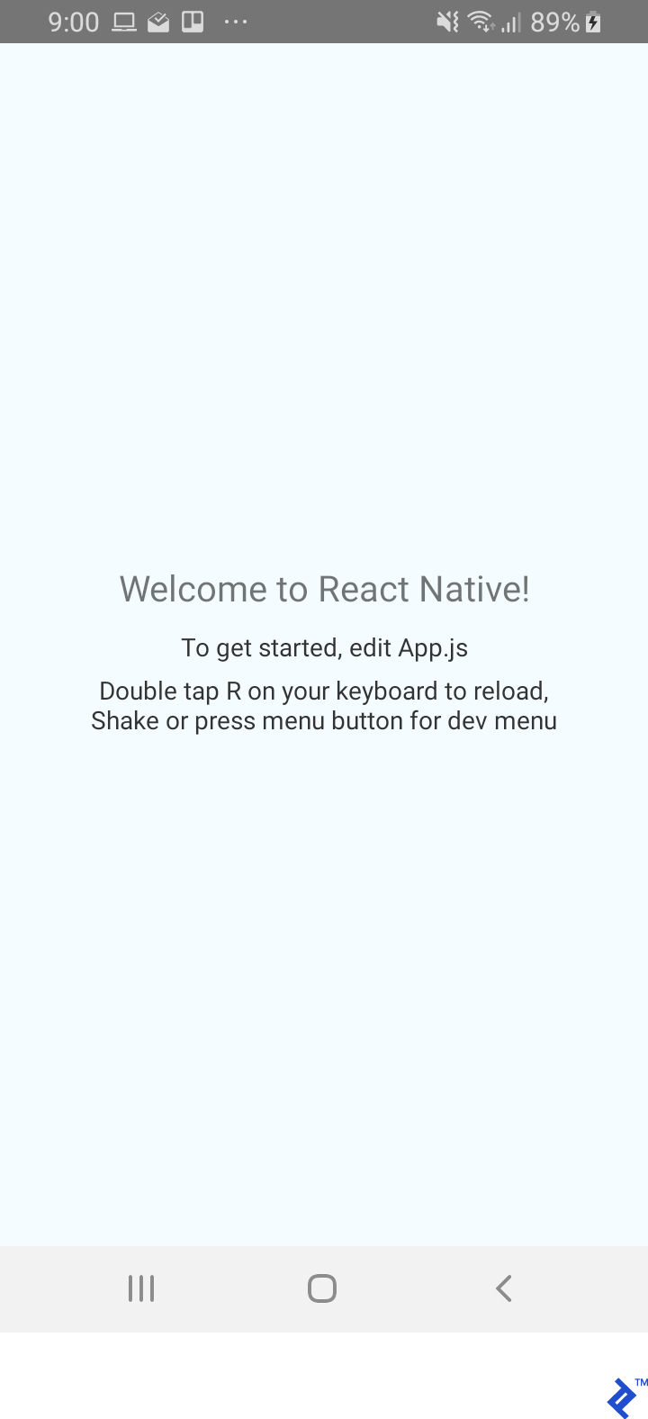 The Android Emulator showing a React Native welcome screen.