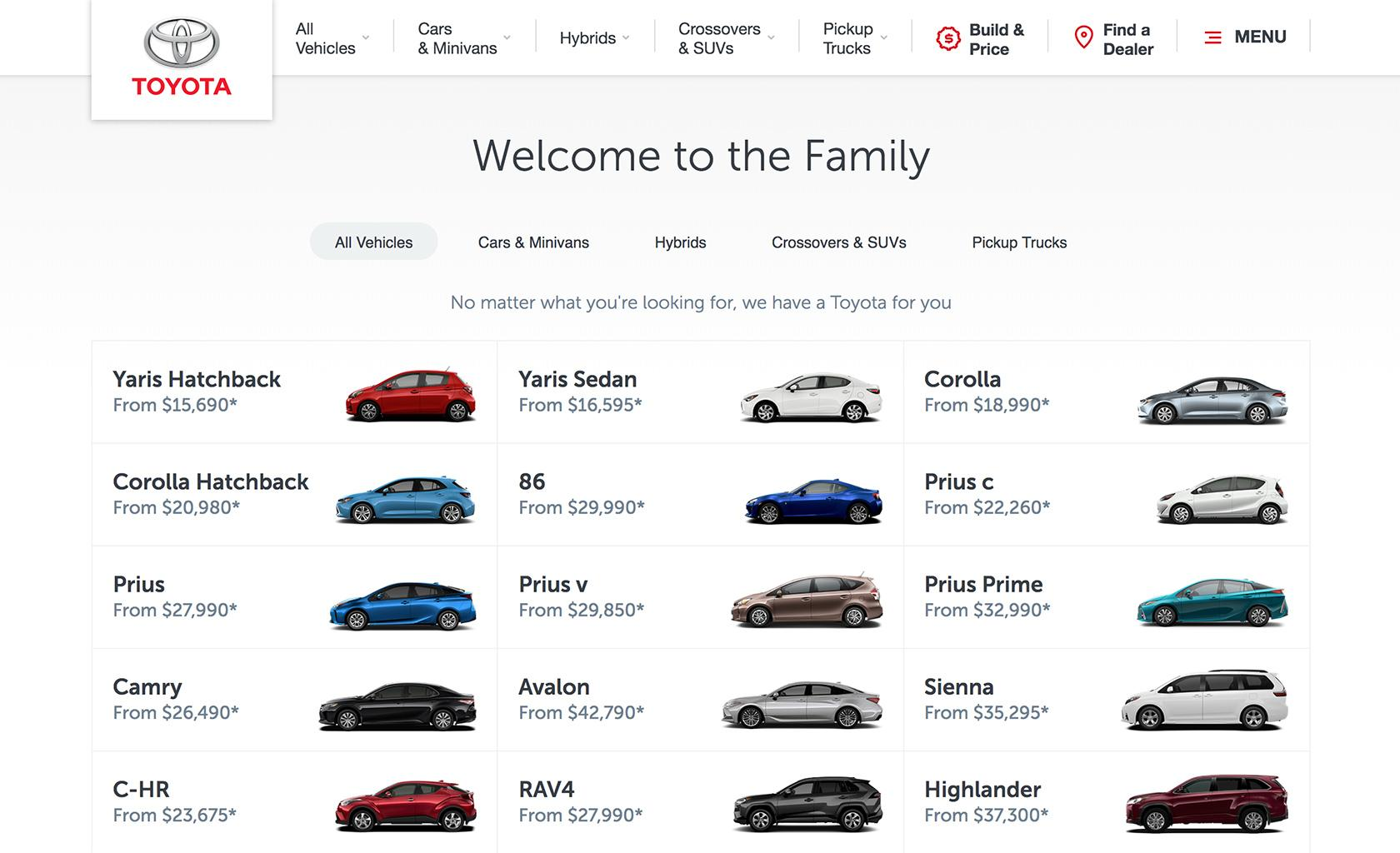 A typical automotive web design layout