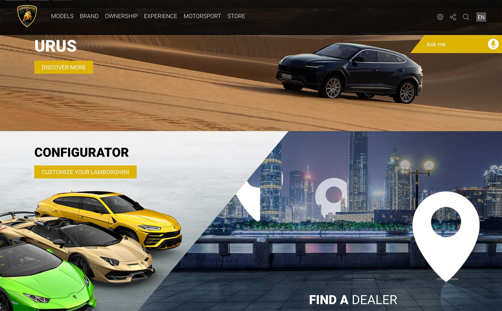 Lamborghini redesigned website