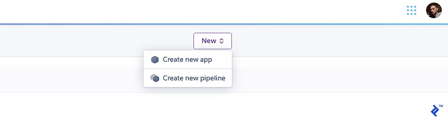 "Choosing ""Create new app"" from the New menu in the Heroku dashboard."
