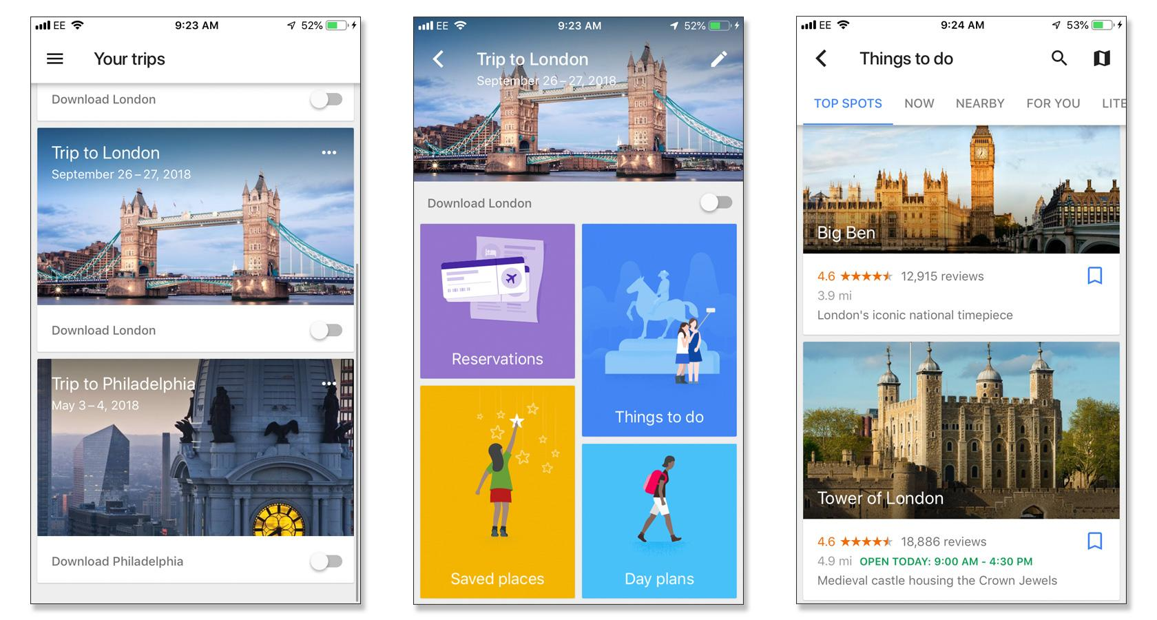 Design and emotion with Google Trips app user personalization.