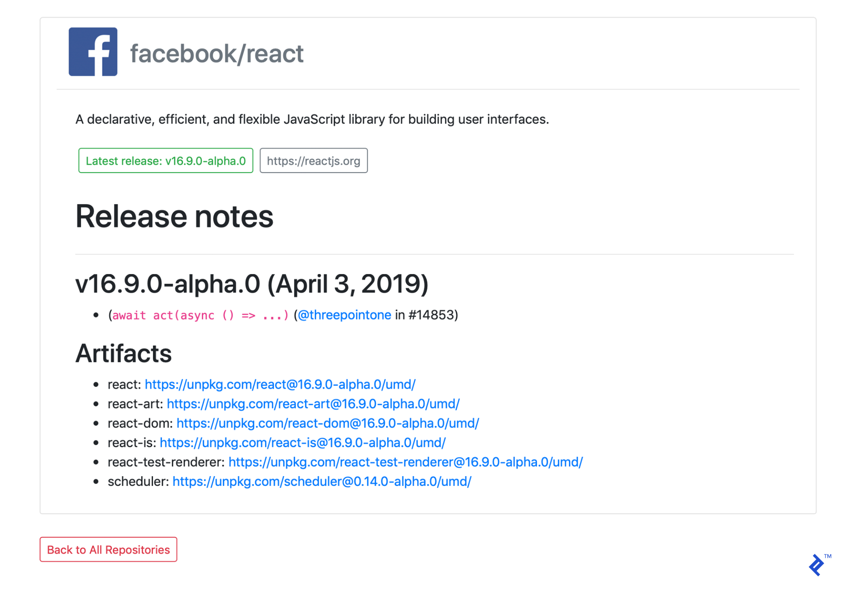 A sample repository detail page, showing more information about the facebook/react GitHub repo