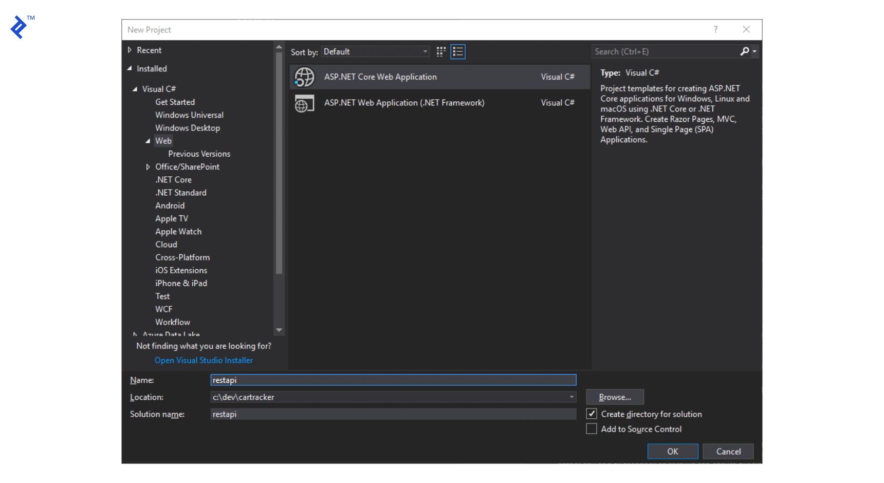 wpf reactiveui: New visual studio ASP.NET Core web application