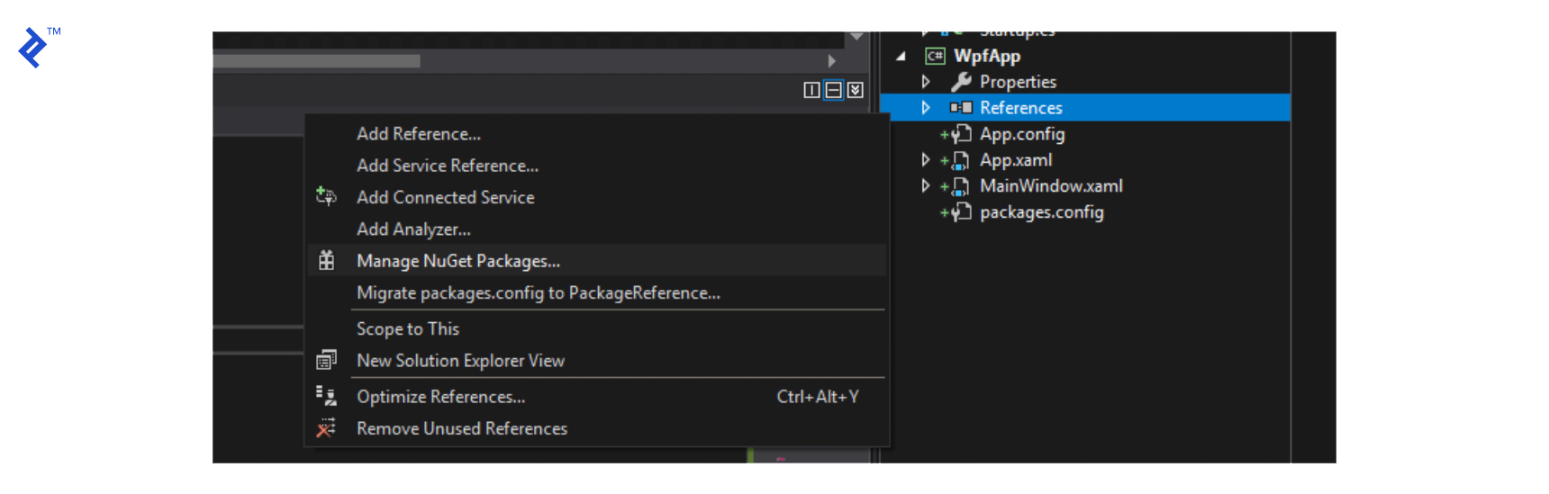 Step 1: Right click on the References section of your WPF project and click on Manage NuGet Packages.