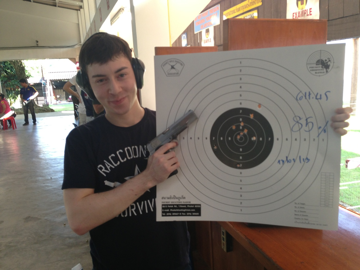 We even went shooting; this is our front-end engineer. He shoots like his code, dead on.