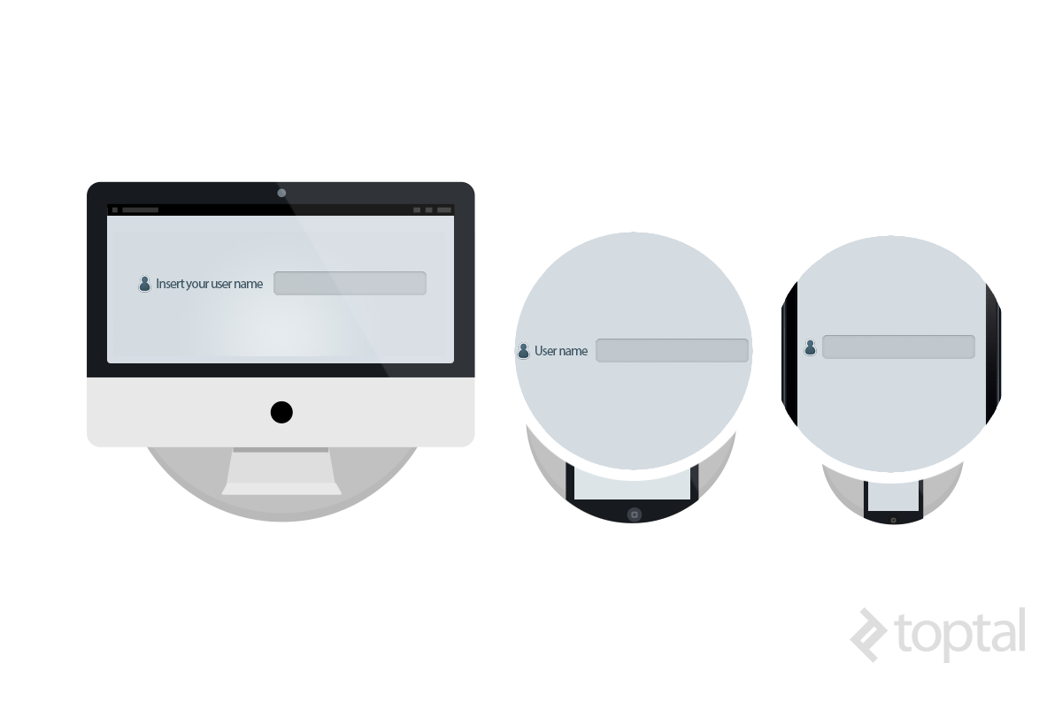 This responsive CSS example depicts three versions of pseudo-elements.