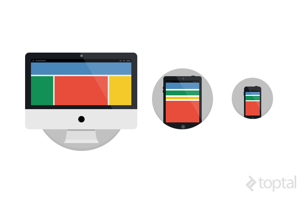 These responsive web design examples show the layout on different devices.