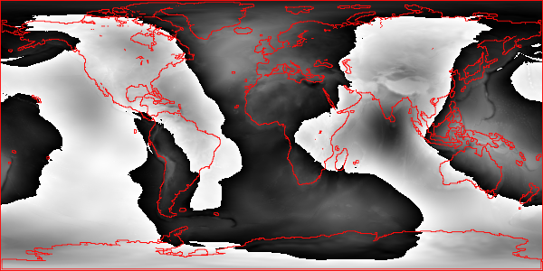 This chart depicts the Earth's surface, generated by a Ruby library for geospatial and GIS programming.