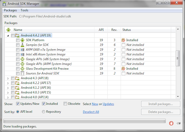 Use Android SDK Manager to be sure your Glass Development Kit is installed.