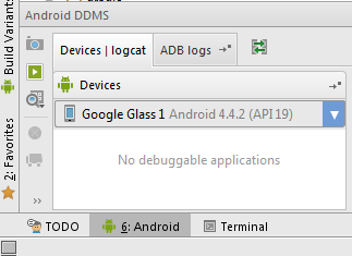 The device list should show Google Glass as an Android device.