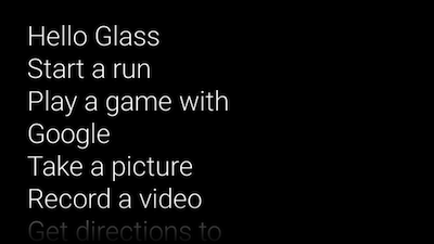 With this tutorial to guide you, this is what your Glass app start screen looks like now.