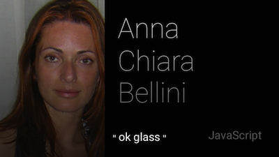 This is the Google Glass resume of Toptal developer Anna Chiara Bellini.