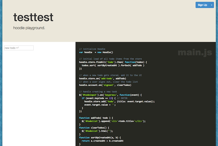 Here is a sample front-end app provided by Hoodie.