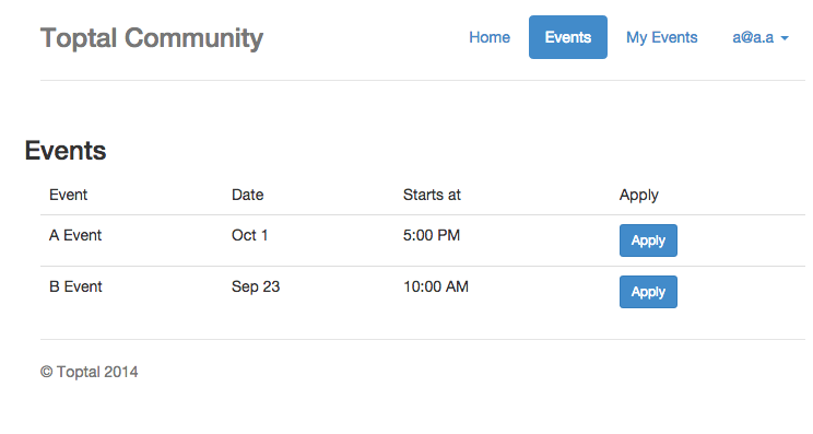 Hoodie creates a clean, efficient full stack development process for the Toptal event calendar.