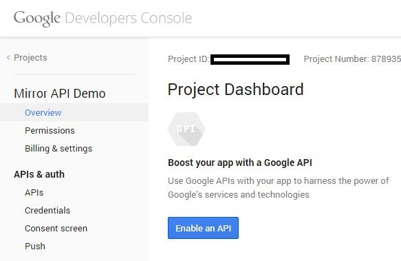 This is the Google Mirror API project dashboard.