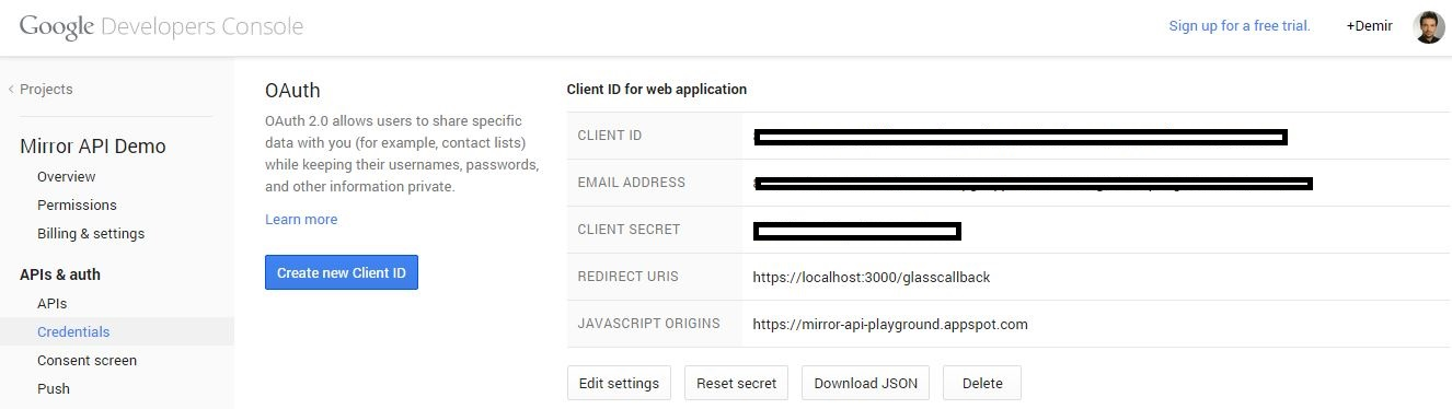 Google Developers Console provides your Glass app's client ID.