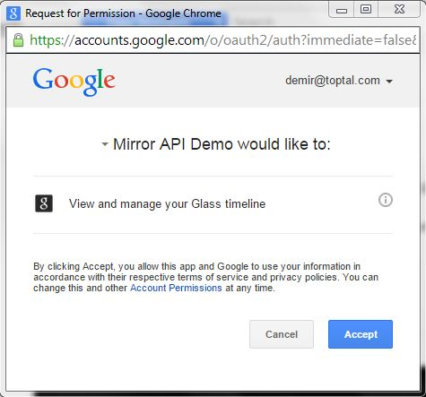This critical step connects Mirror API Playground to your Google Glass timeline.