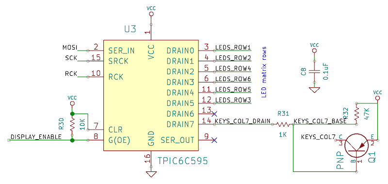 The IC that drives the rows of LEDs looks like this.