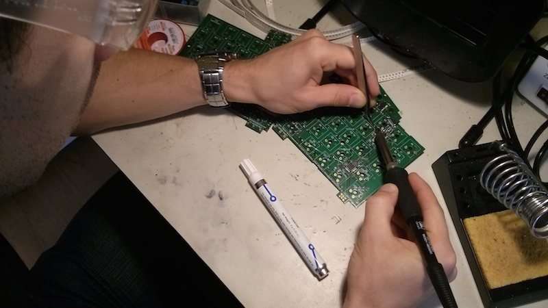 Soldering the custom keyboard components ensures it works properly once it's in the case.