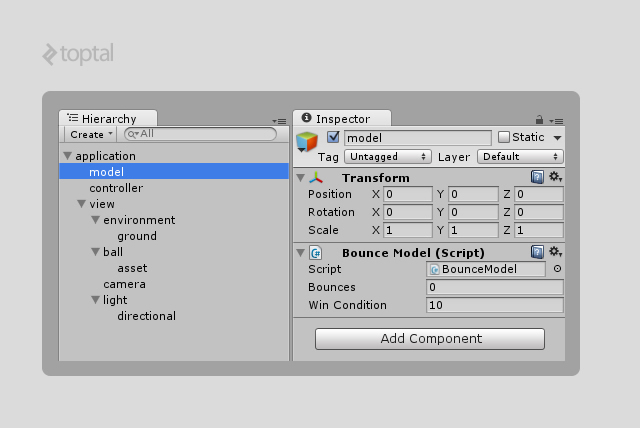 SCREENSHOT: UNITY MVC EXAMPLE STRUCTURE