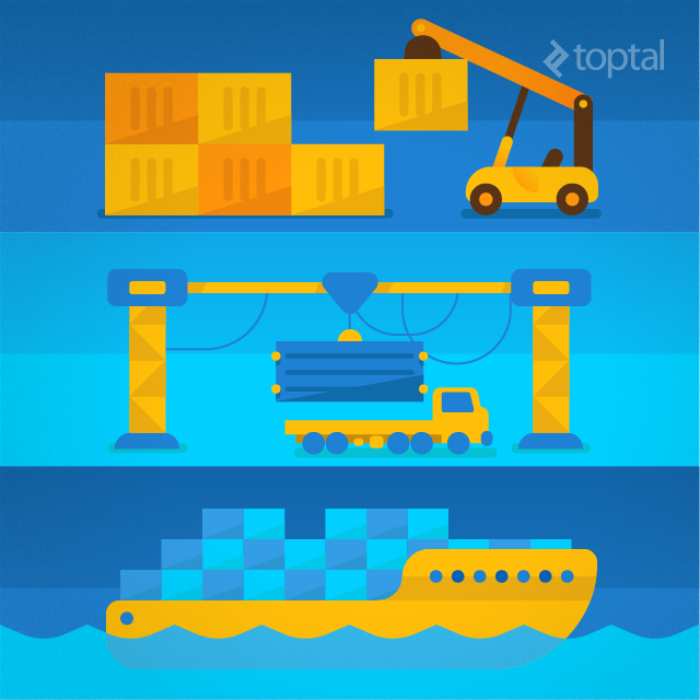Transportation using shipping containers by land and by sea