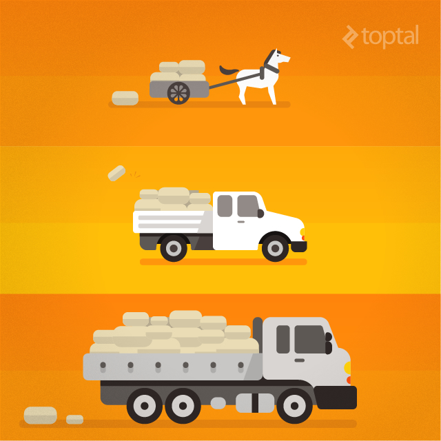 A horse-drawn cart, a pickup truck, and a transport truck, all transporting goods