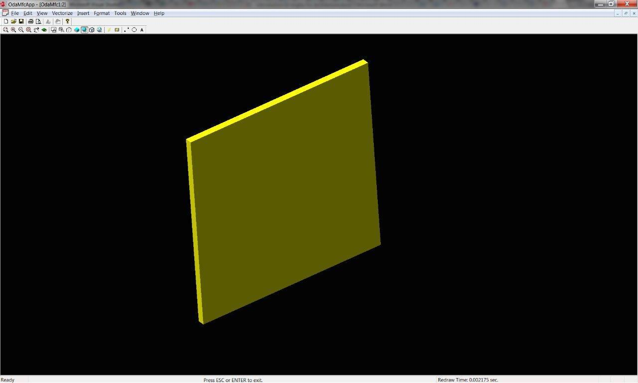 A DWG file with one yellow rectangular wall
