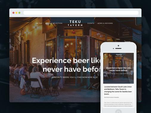 TEKU TAVERN - Web, Logo, Digital Menu, Print Menu and Collateral