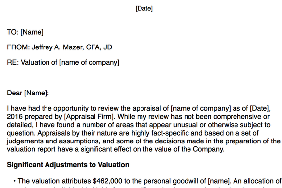 Analysis of Valuation Report