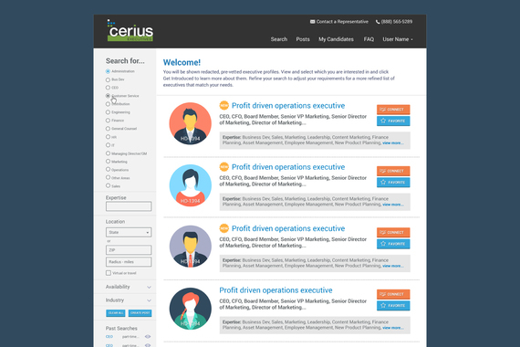 Cerius Executives Candidate Search Portal