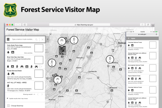 The US Forest Service Interactive Visitor Map