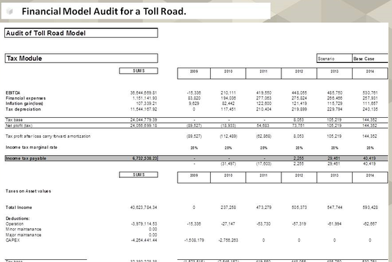 Financial Model Audit for a Toll Road