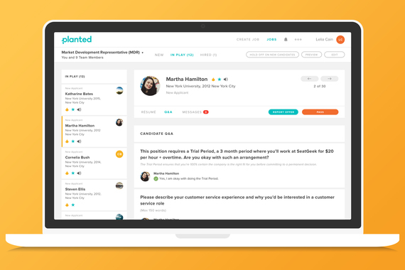 Planted Web App For Hiring Managers