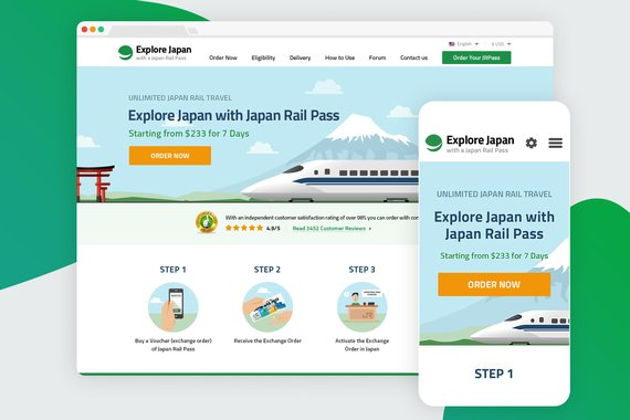 Japan Rail Pass | Travel Website Redesign and Icons
