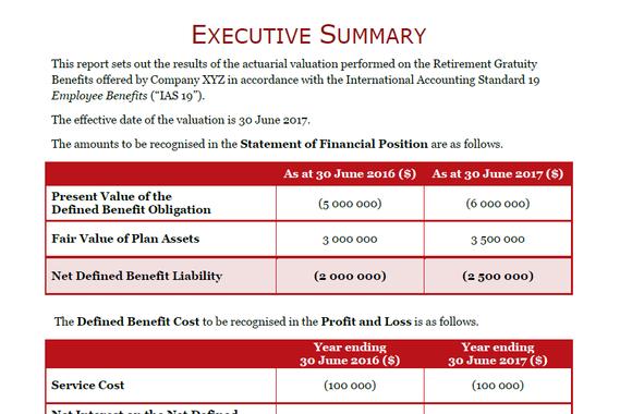 Employee Benefit Valuation Report