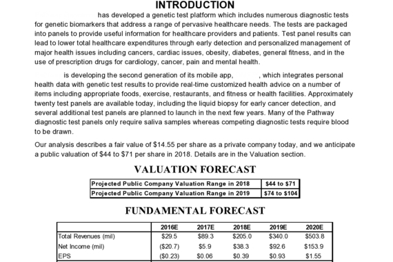 Independent Valuation Analysis and Report in Biotech