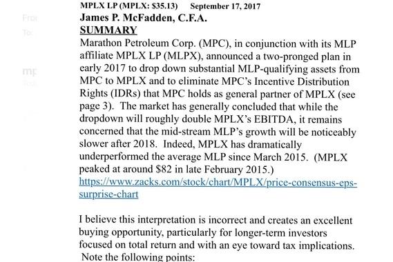 Fundamental Analysis of MPLX LP Common Stock