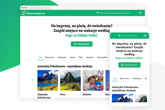 Zielonamapa | Travel Website Design