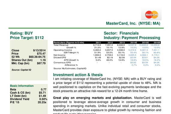 Equity Research Note - MasterCard