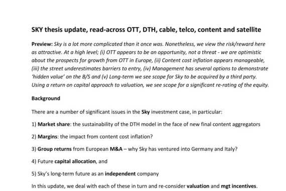 Buy-side Research: Sky (Pay TV) Case Study