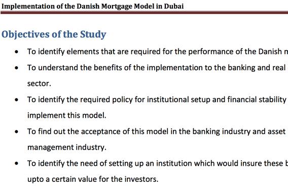 Implementation of the Danish Mortgage Model in Dubai