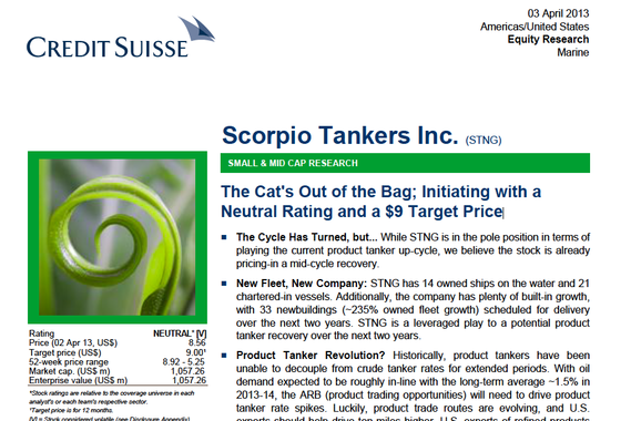 Initiating Coverage on Scorpio Tankers