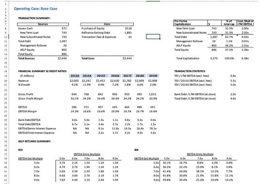 Dynamic Financial/Buyout Model