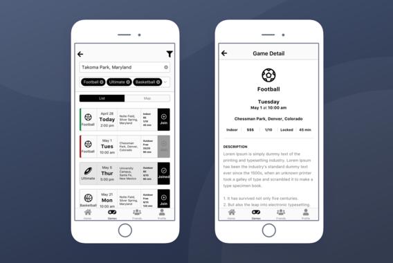 Game Event iOS App Design